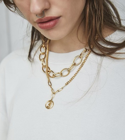3way J coin Chain Necklace