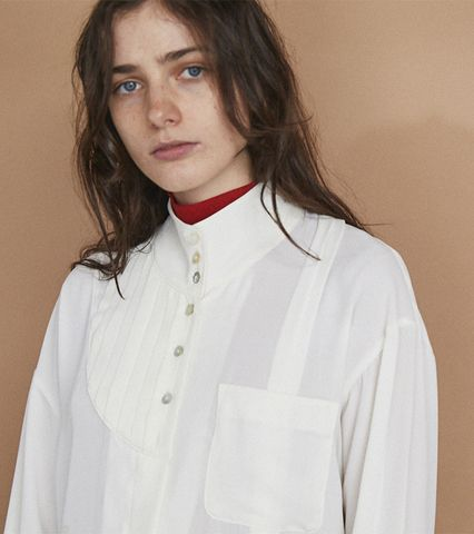 Asymmetric Pin tuck Shirt