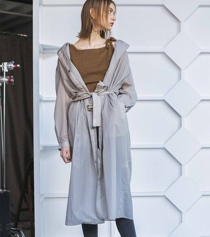 See-through Split Raglan Trench