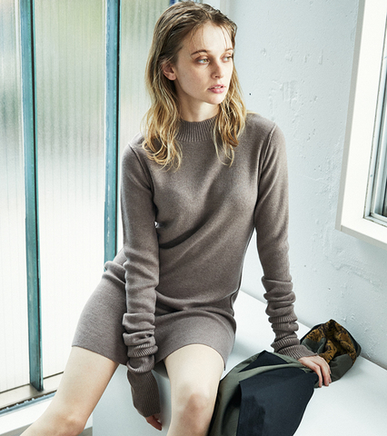 Pillingless Long Sleeve Knit Dress