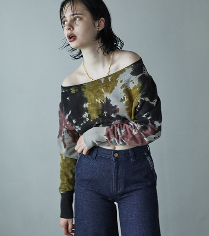 Tie Dyed Loose Neck Pigment Sweat