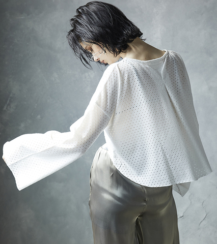 Cotton Mesh Bell Sleeve Top