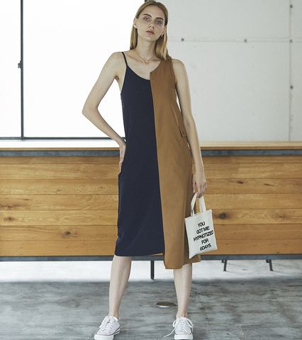 Asymmetric Bi-color Dress