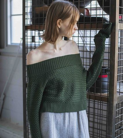 Seed Stitch Off-shoulder Knit