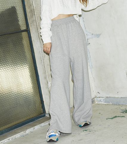EMB Crease Wide Sweat Pants