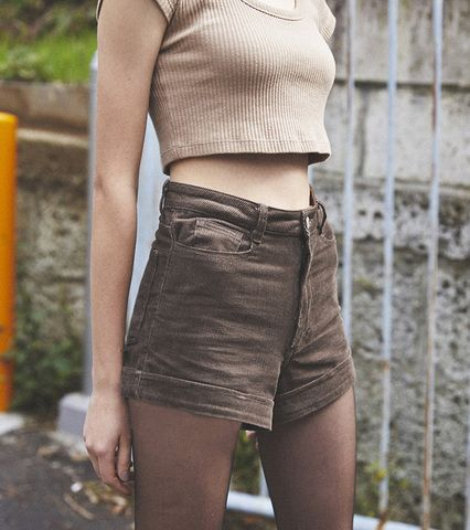 New High-Waisted Corduroy Shorts