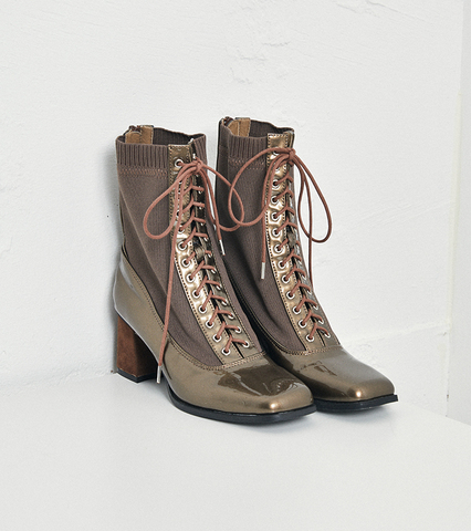Enamel Braided Lace-up Boots